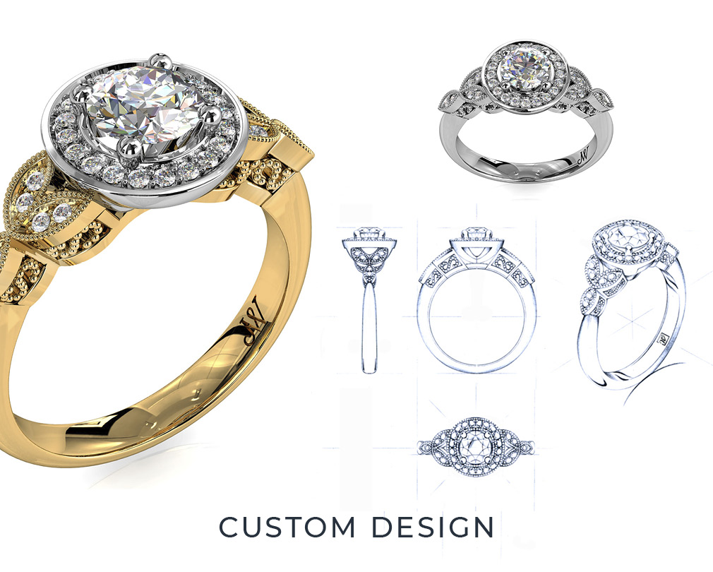 Custom Designed Wedding and Engagement Rings
