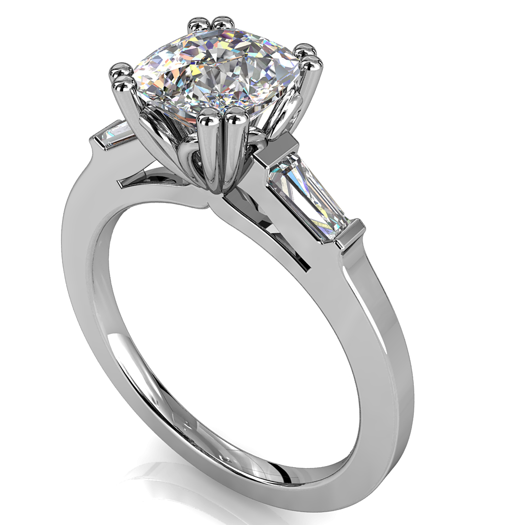 Asscher Cut Solitaire Diamond Engagement Ring, 4 Double Claws with Tapered Baguette Side Stones.
