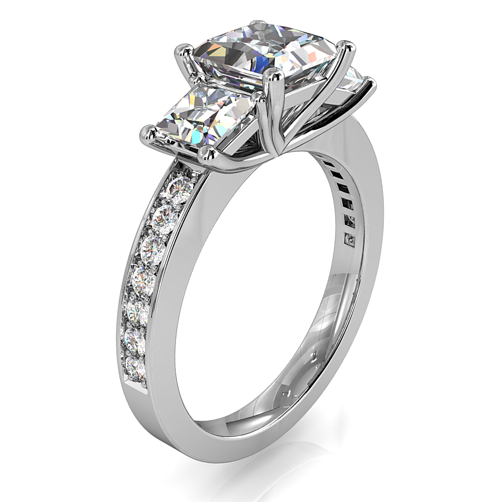 Princess Cut Trilogy Diamond Engagement Ring, on a Bead Set Band.