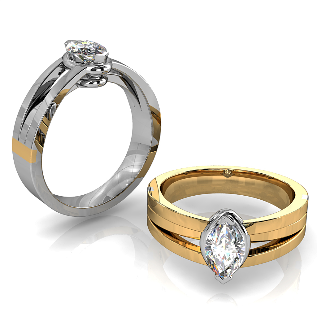 Marquise Cut Solitaire Diamond Engagement Ring, V End Claws Raised Set on a Three Split Band.