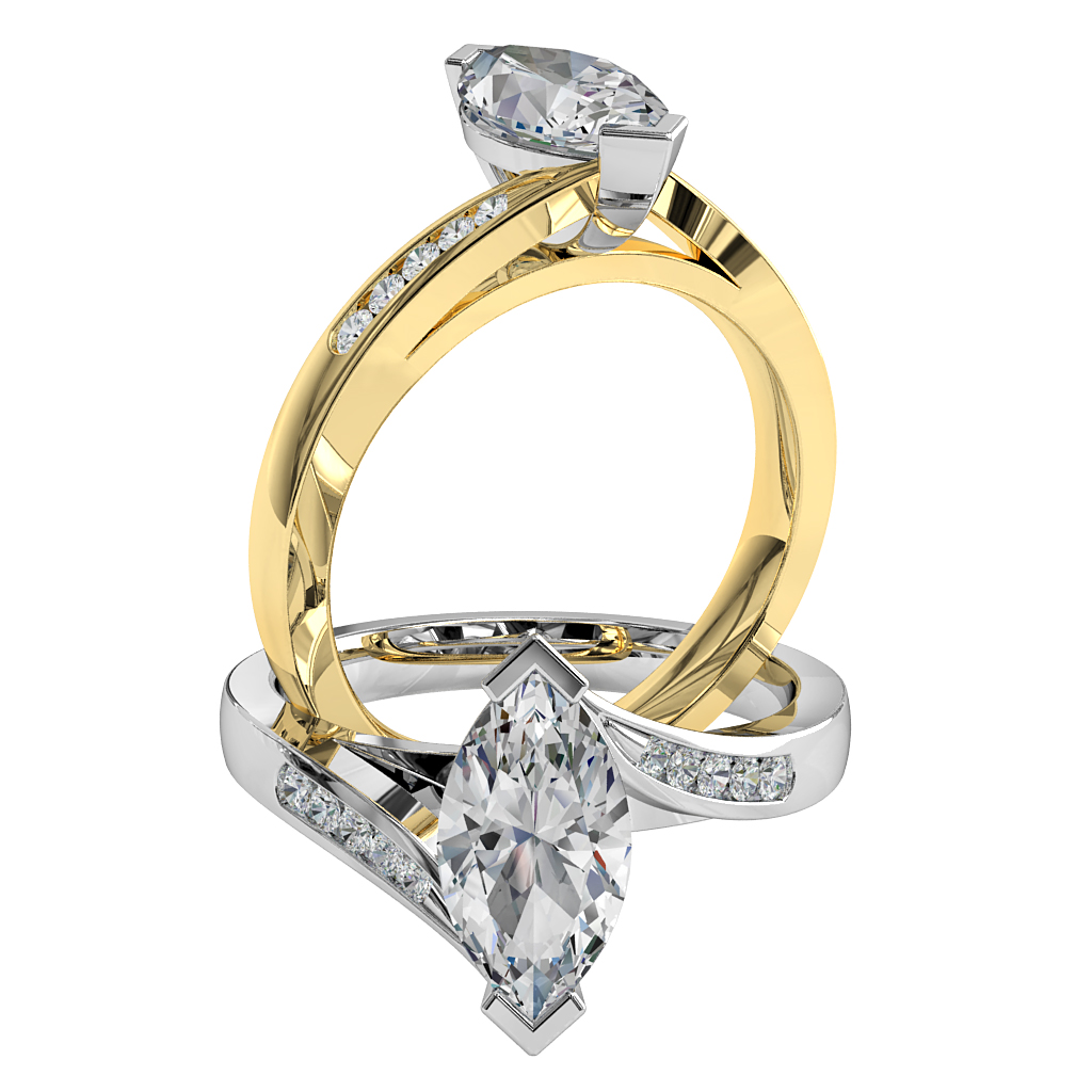 Marquise Cut Solitaire Diamond Engagement Ring, V End Claw Set on a Tapered Swept Channel Set Band.