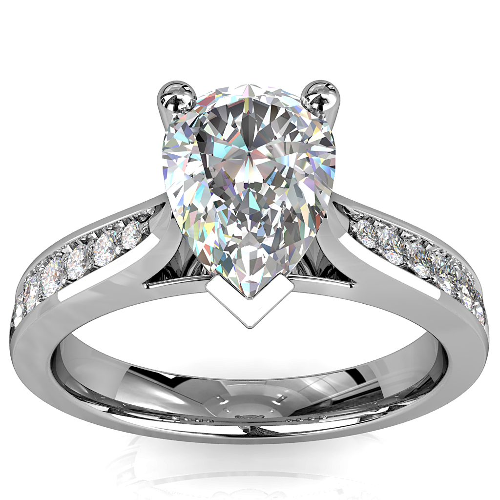 Pear Shape Solitaire Diamond Engagement Ring, 3 Claw Set on a Tapered Bead Set Band with Classic Underrail Setting.
