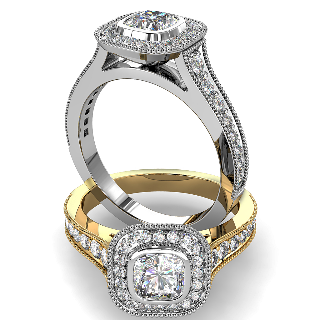 Asscher Cut Halo Diamond Engagement Ring, Milgrain Bezel Set in a Bead Set Milgrain Halo and Band.