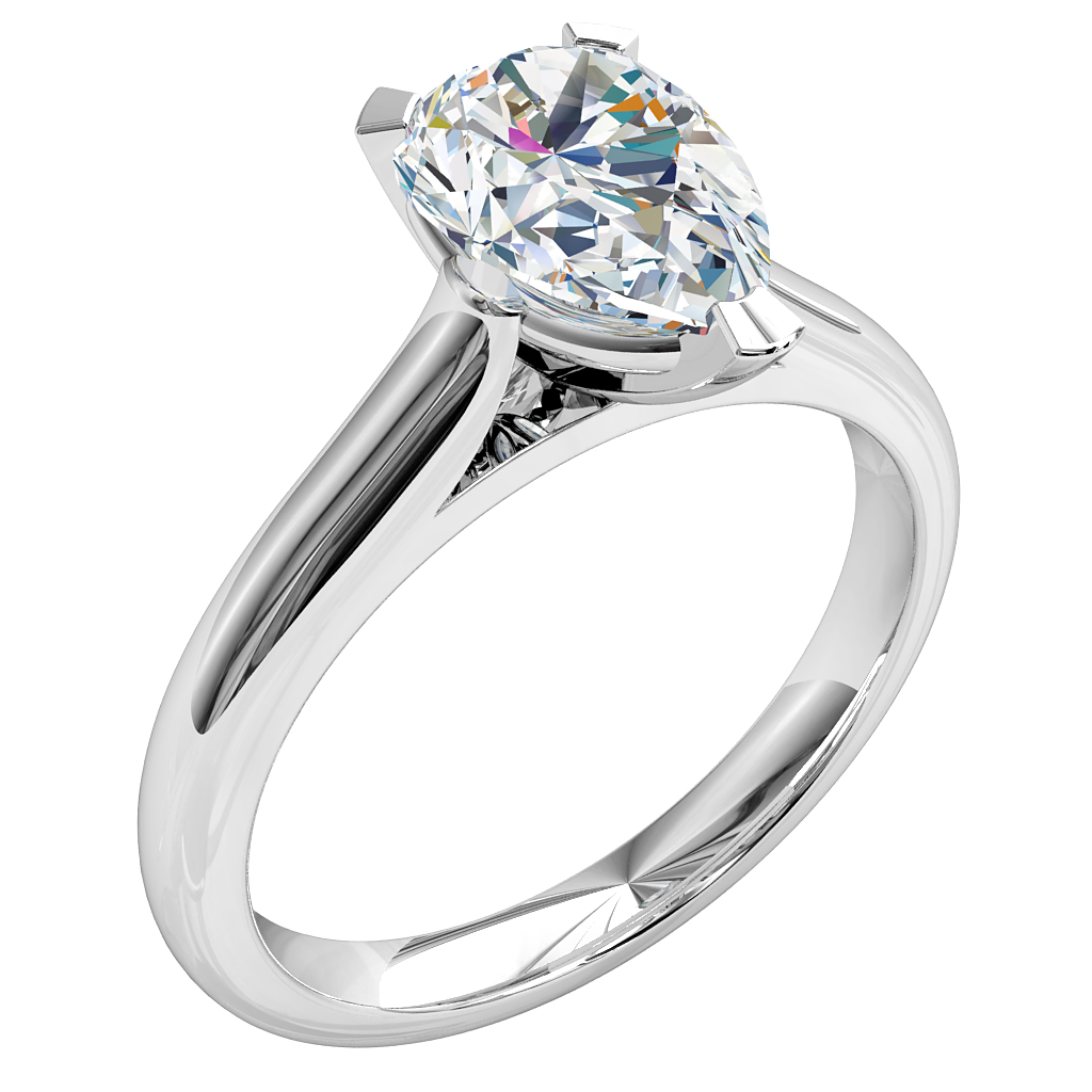 Pear Shape Solitaire Diamond Engagement Ring, 3 Square Claw Set on Rounded Band with Classic Underrail Setting.