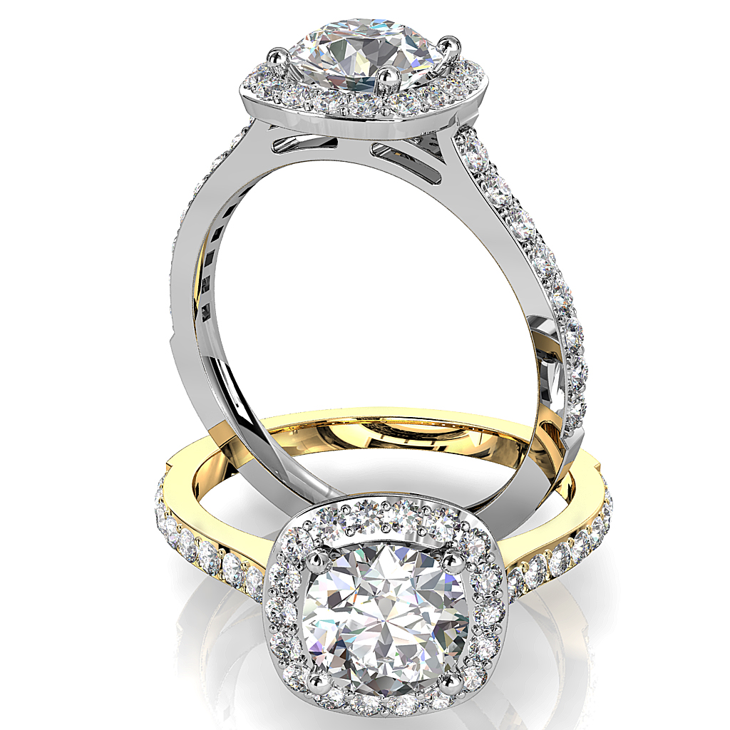 Round Brilliant Cut Diamond Halo Engagement Ring, 4 Claws Set in a Cushion Shape Grain Set Halo on a Fine Grain Set Band.