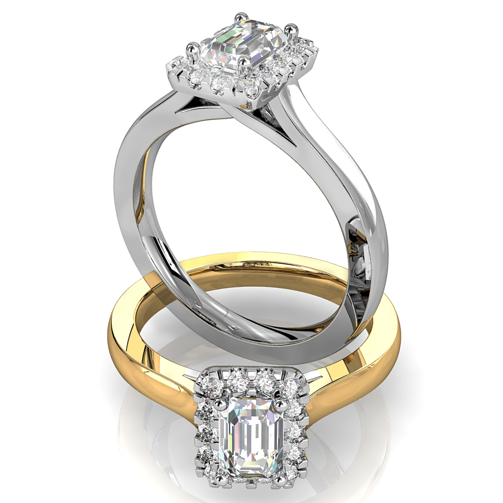 Emerald Cut Halo Diamond Engagement Ring, Cut Claw Halo with an Undersweep Setting.