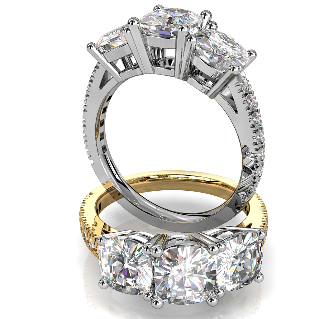 Asscher Cut Trilogy Diamond Engagement Ring, on a Cut Claw Band.