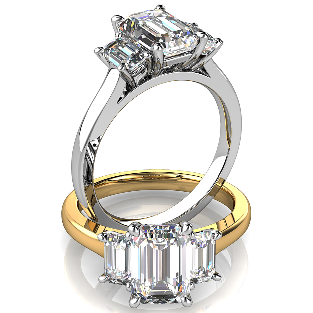 Emerald Cut Trilogy Diamond Engagement Ring, 4 Pear Claws Set with Emerald Cut Side Stones on a Classic Underrail Setting.