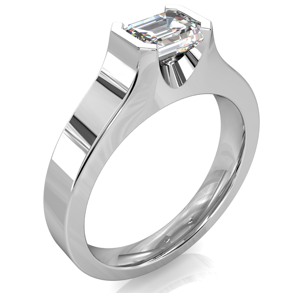 Emerald Cut Solitaire Diamond Engagement Ring, Horizontal Half Bezel Set in a Flat Band.