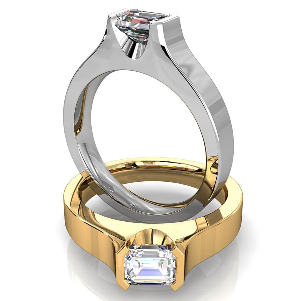 Emerald Cut Solitaire Diamond Engagement Ring, Horizontal Half Bezel Set in a Flat Band.