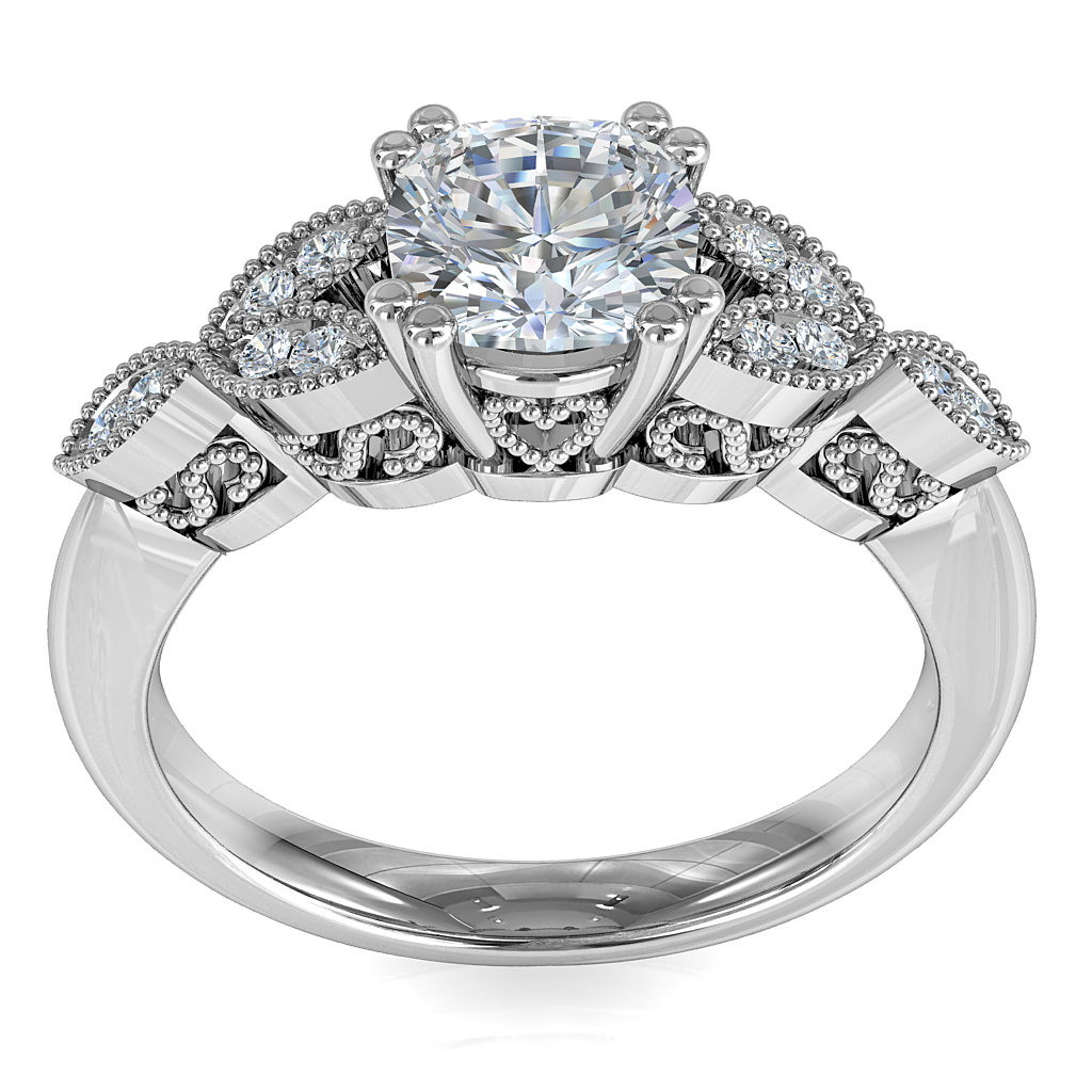 Asscher Cut Solitiare Diamond Engagement Ring Double Claws Set On A Milgrain Bead Set Band With