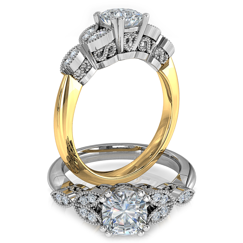 Asscher Cut Solitiare Diamond Engagement Ring, Double Claws set on a Milgrain Bead Set Band with Vintage Leaf Side Detail and Milgrain Scrolling Undersetting.