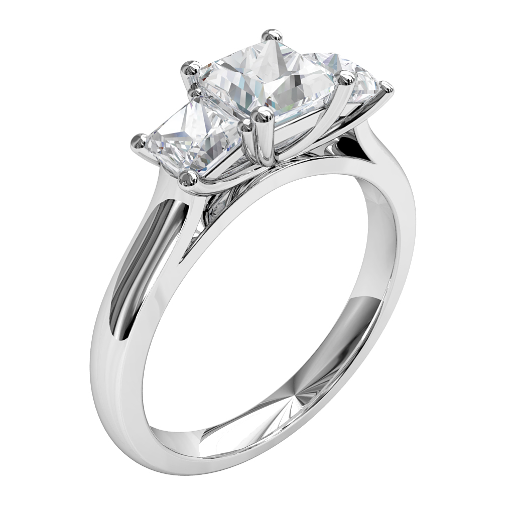 Princess Cut Trilogy Diamond Engagement Ring, with a Classic Underrail Setting.