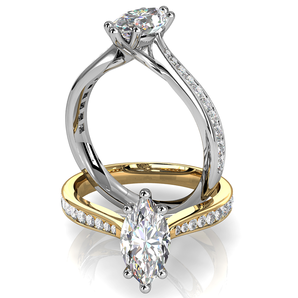 Marquise Cut Solitaire Diamond Engagement Ring, 6 Claw Set on a Tapered Channel Set Band.