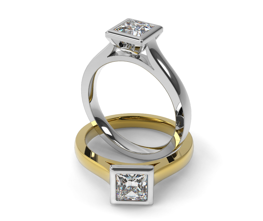 Princess Cut Solitaire Diamond Engagement Ring, Bezel Set on a Flat Band.