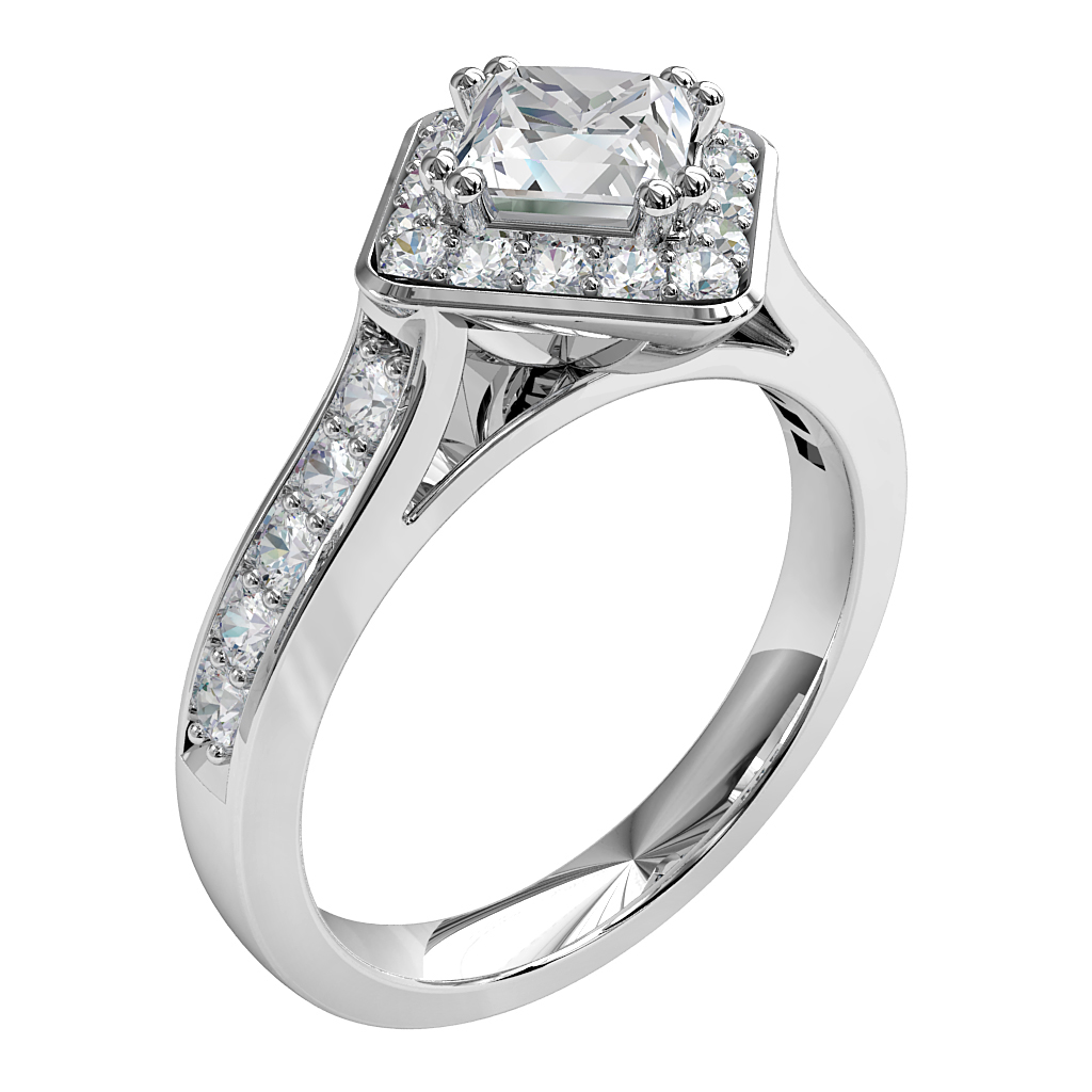 Princess Cut Halo Diamond Engagement Ring, 4 Offset Double Claws in an Offset Bead Halo on a Bead Set Band.