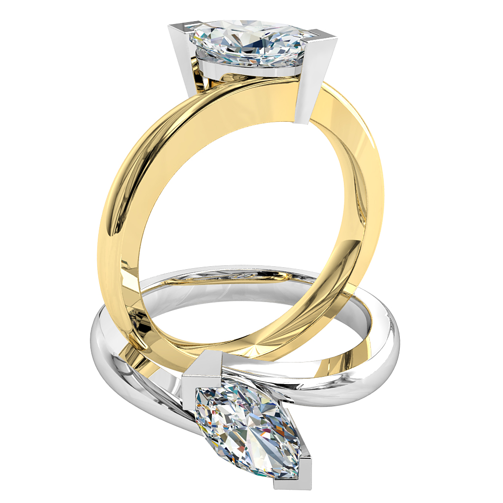 Marquise Cut Solitaire Diamond Engagement Ring, V End Claws Set on a Swept Tilted Band.
