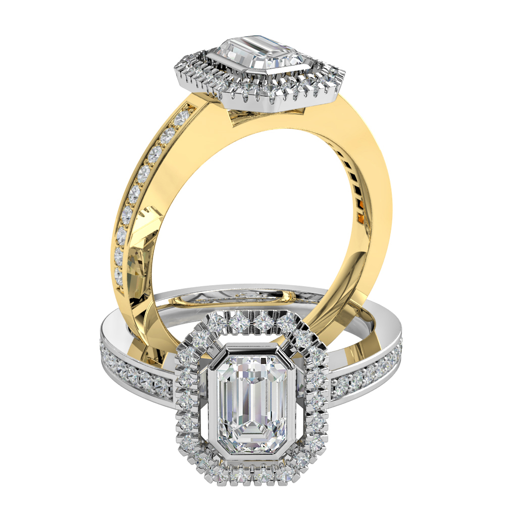 Emerald Cut Halo Diamond Engagement Ring, Bezel Set in a Cut Claw Halo on a Bead Set Band.