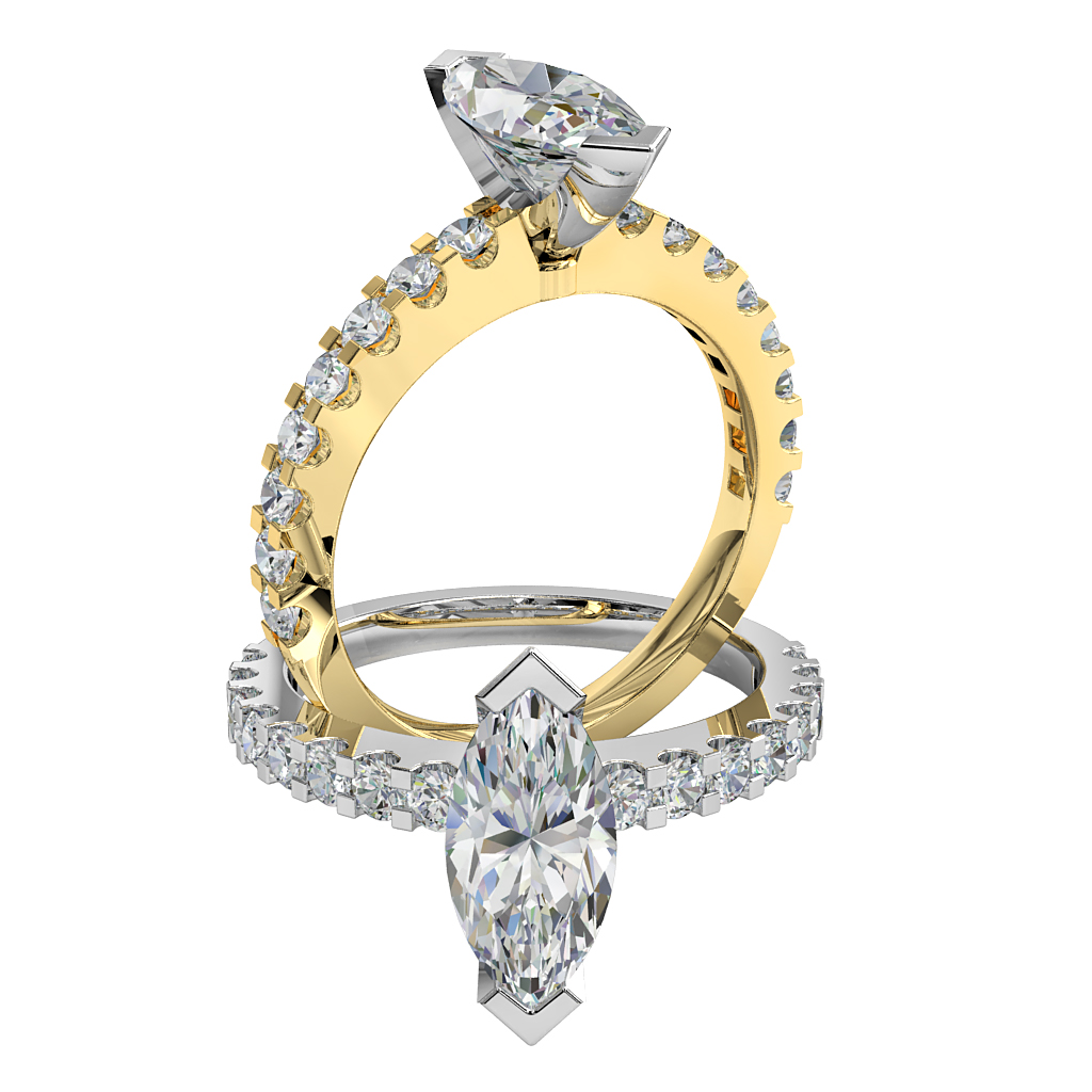 Marquise Cut Solitaire Diamond Engagement Ring, V End Claw Set on a Heavy Cut Claw Band.