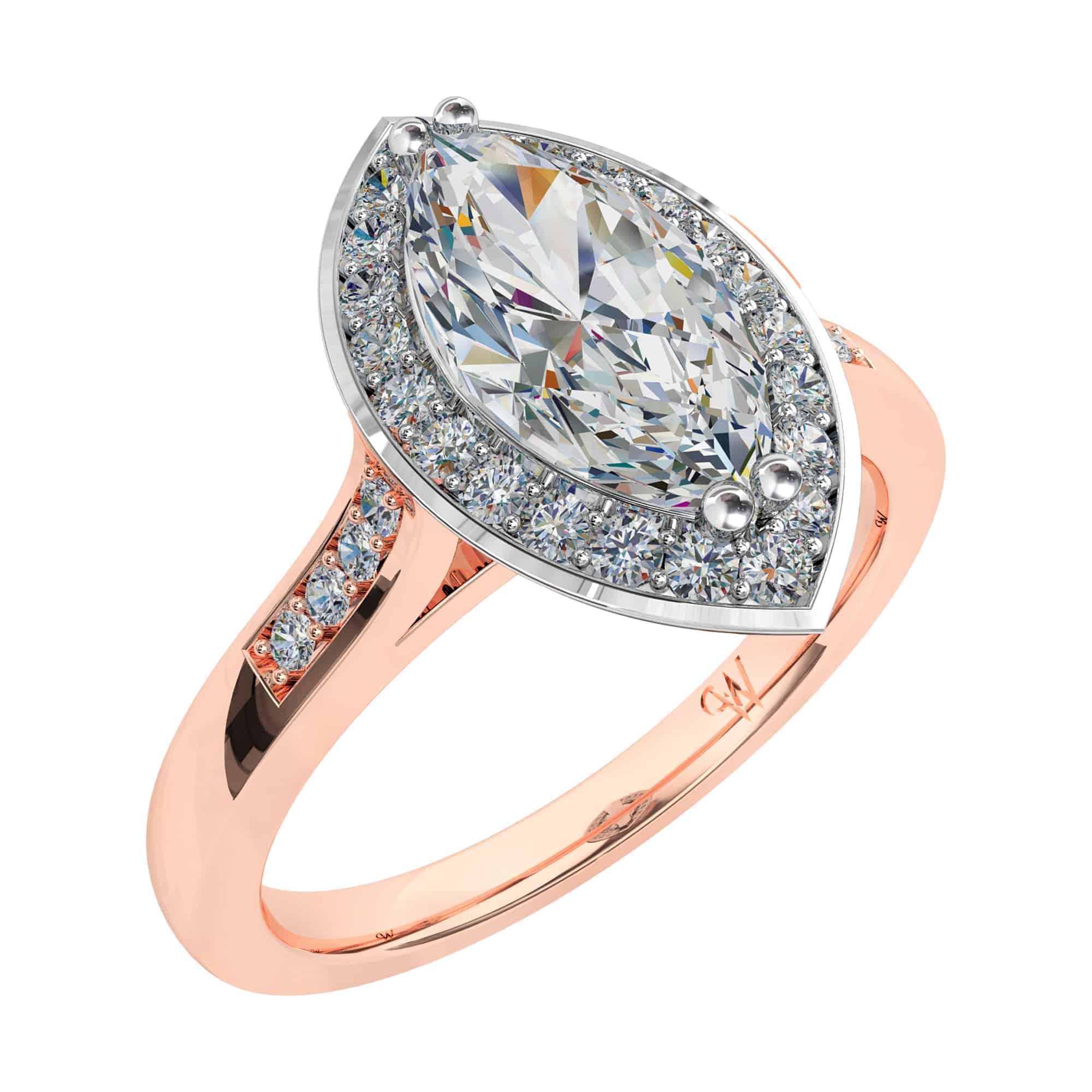 Marquise Cut Diamond Halo Engagement Ring