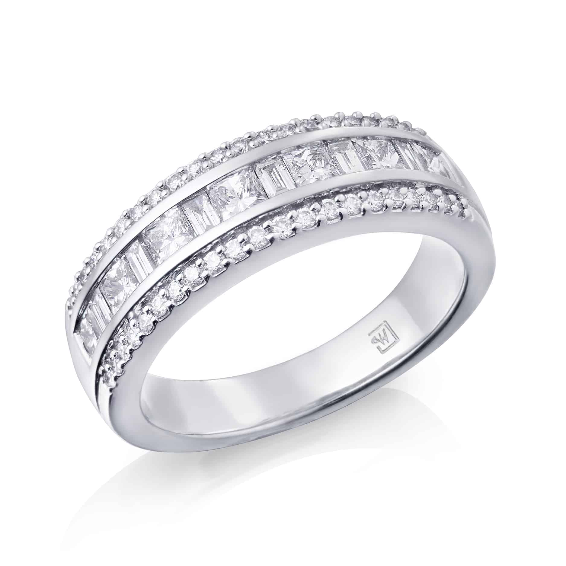 Princess, Baguette and Round Diamond Channel Ring