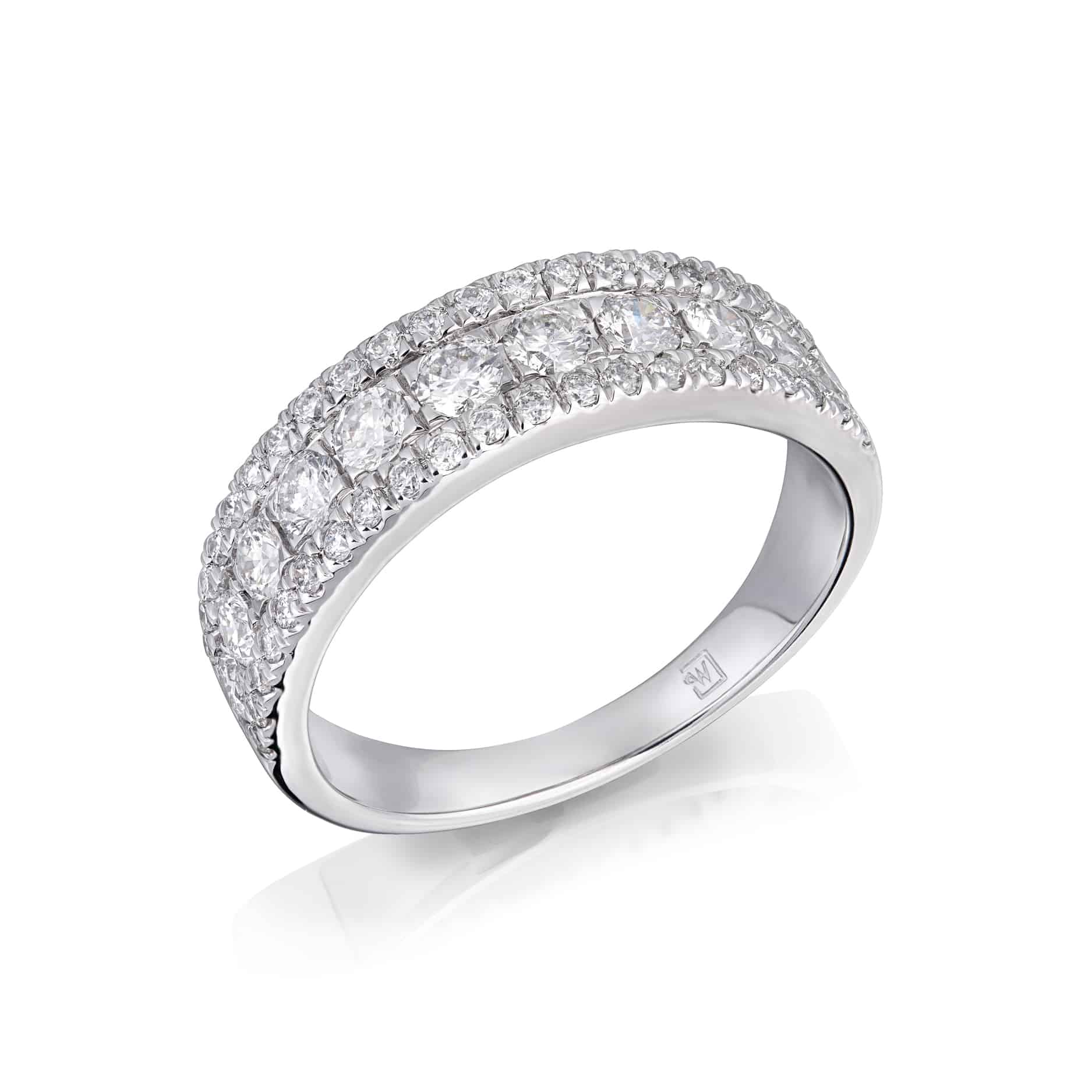 Round Diamond Three Row Ring