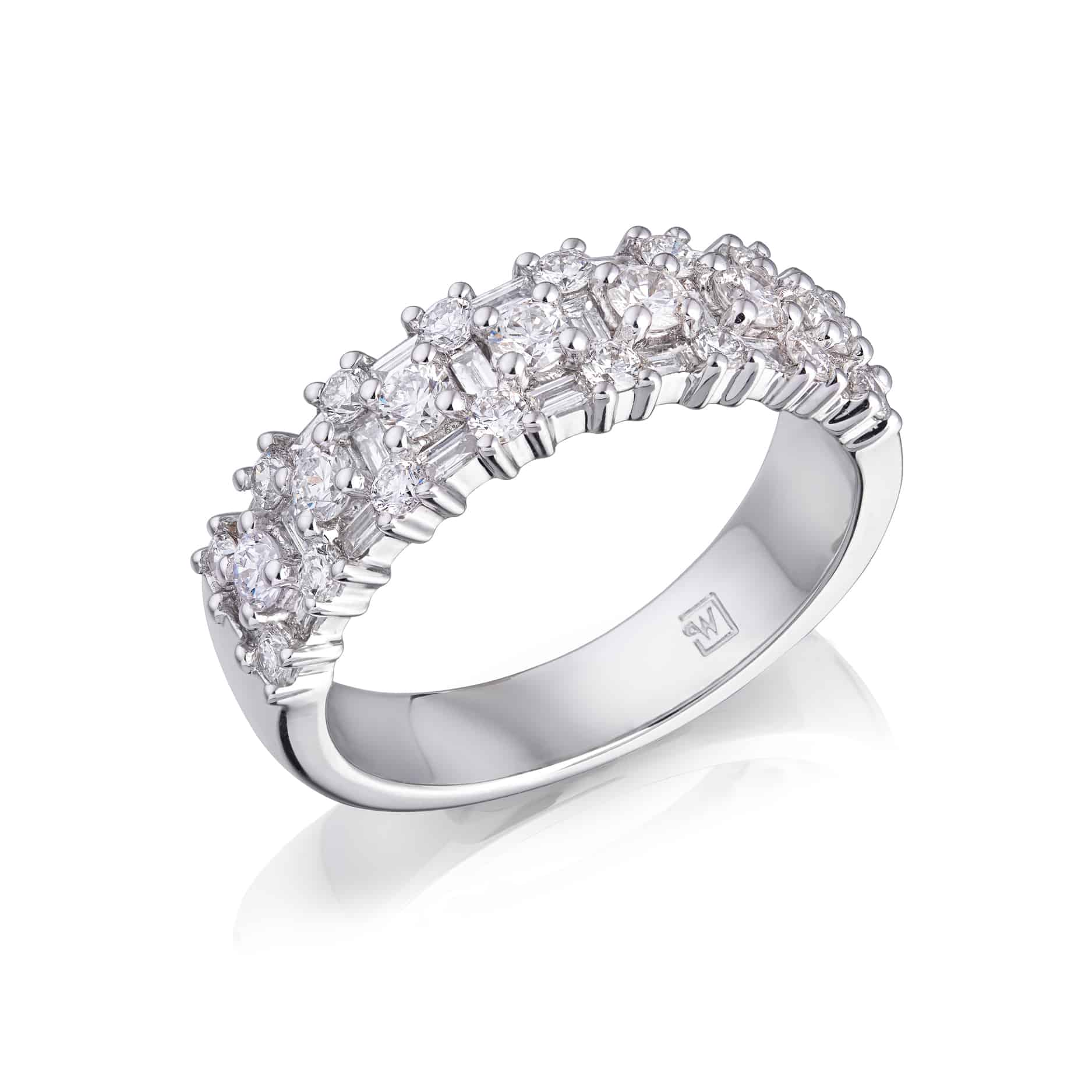 Round and Baguette Diamond Dress Ring