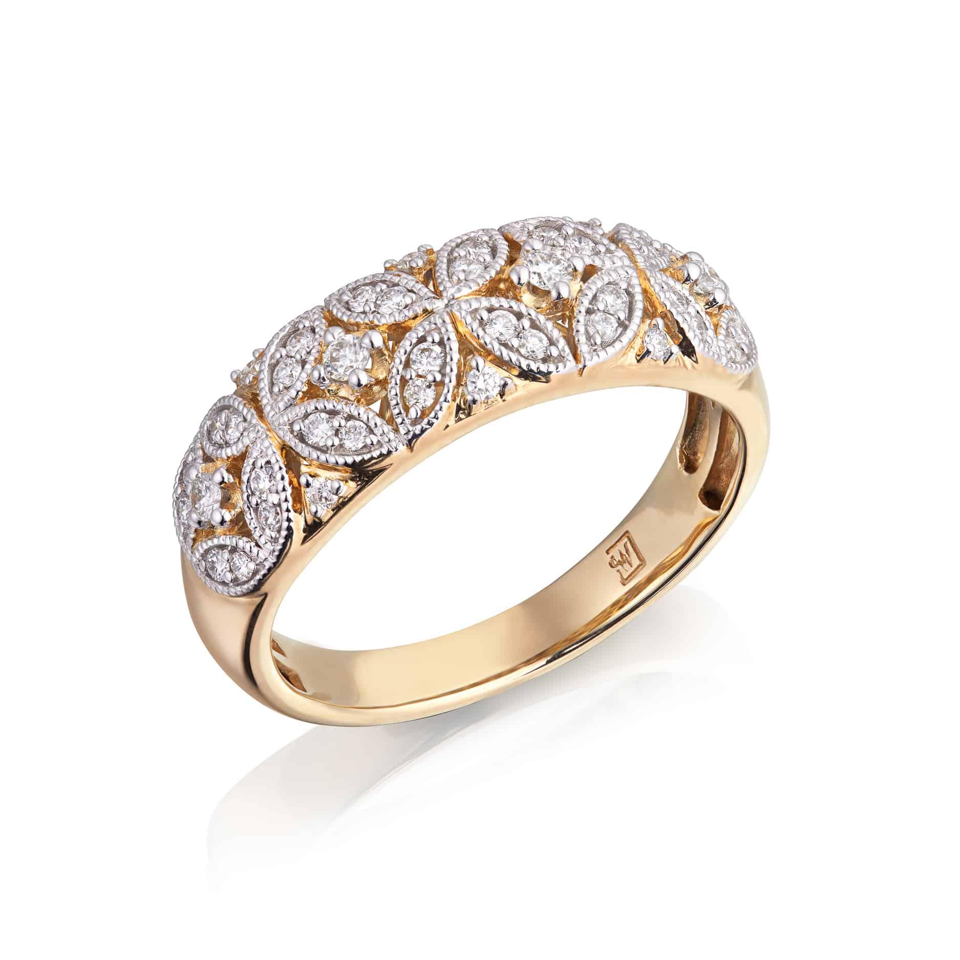 Diamond Flower Pattern, Vintage Ring