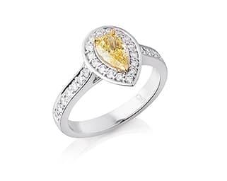 Pear Shaped Yellow Diamond Halo Ring