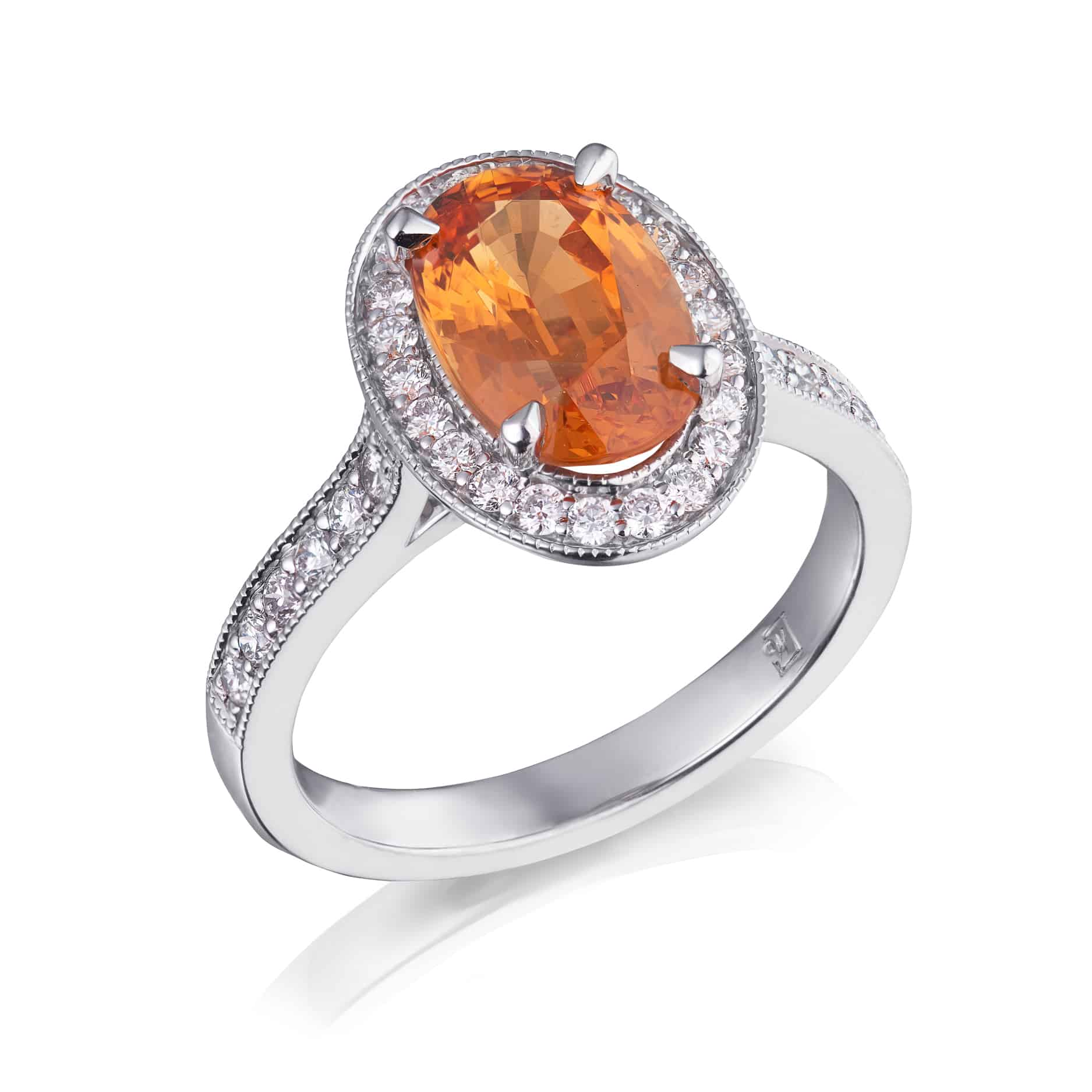 Oval Mandarin Spessartite Garnet & Diamond Halo Ring