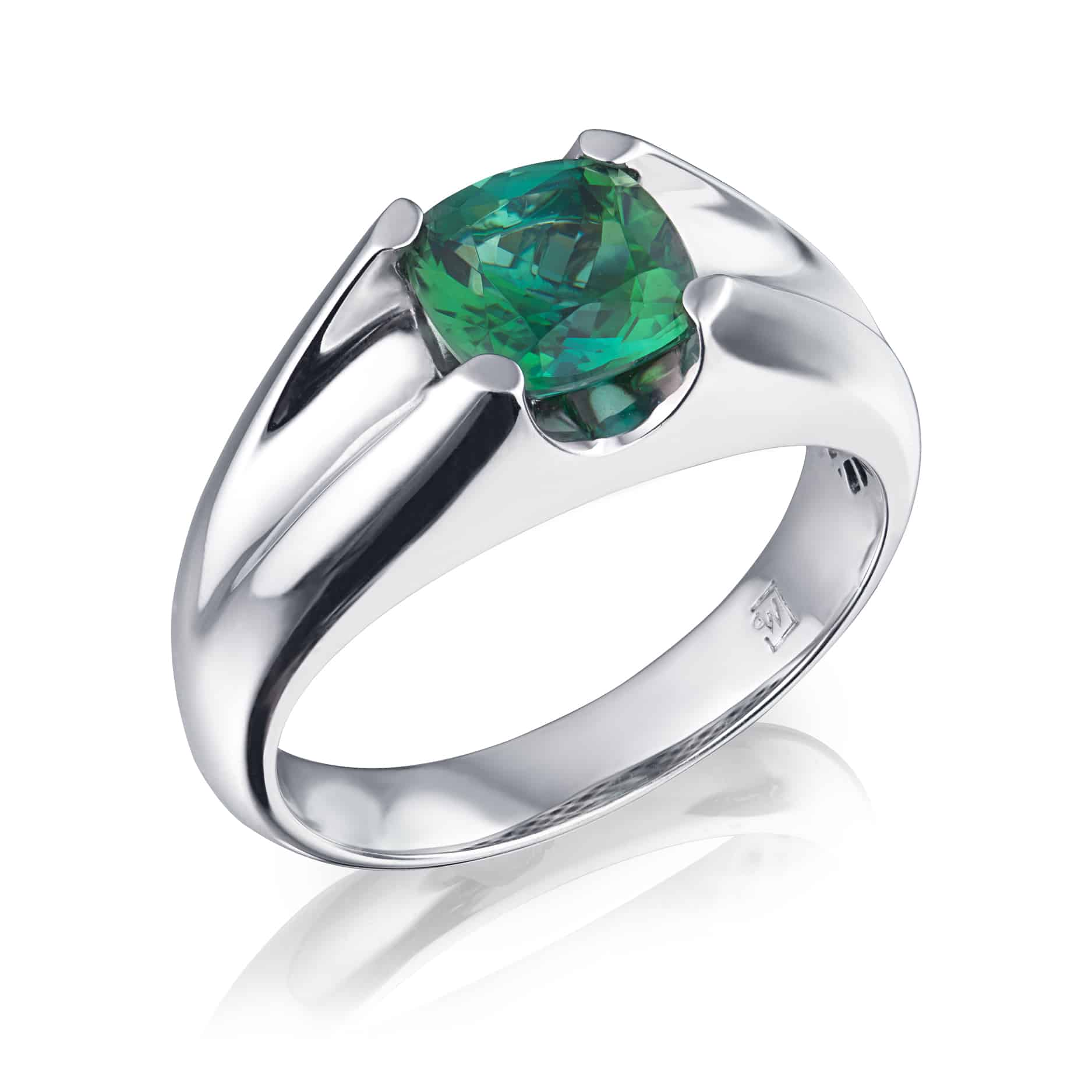 Cushion Green Tourmaline Ring