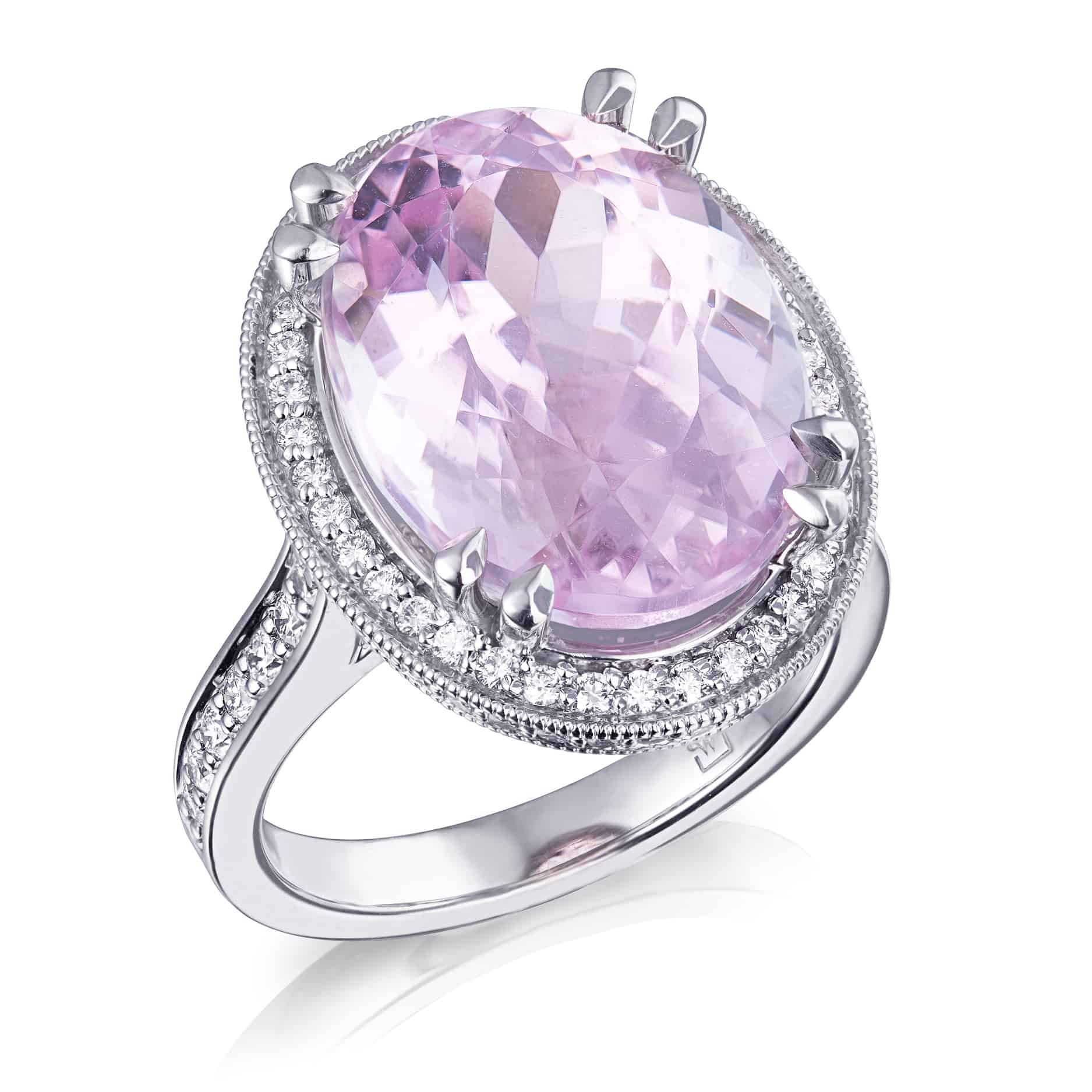 Oval Pink Kunzite & Diamond Ring