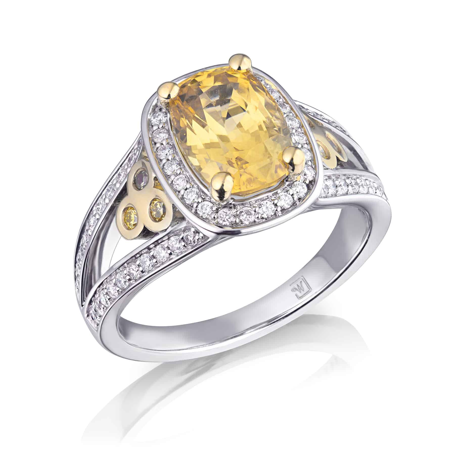 Cushion Sri Lankan Yellow Sapphire & Diamond Halo Ring