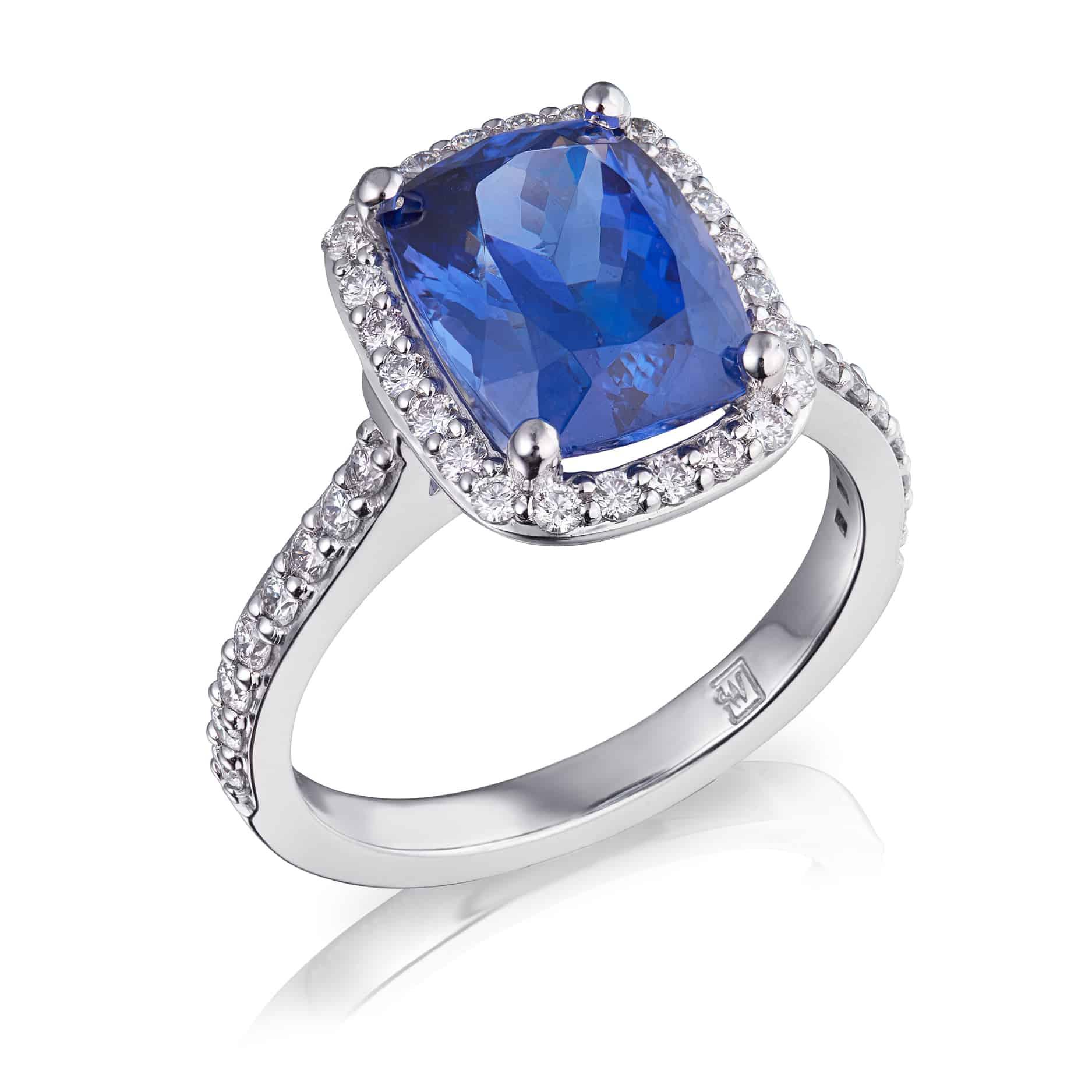 Cushion Tanzanite & Diamond Halo Ring