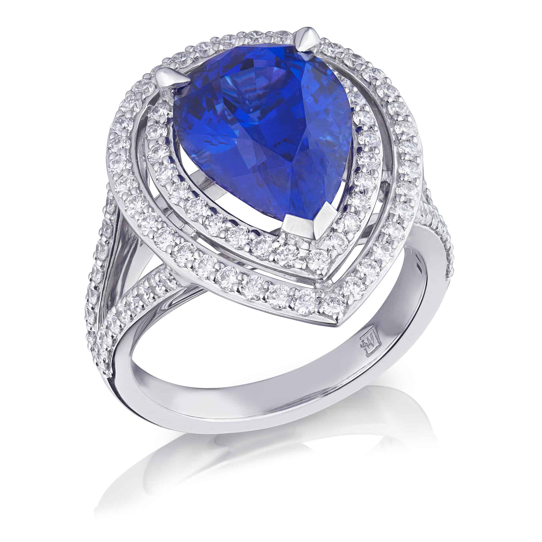 Pear Tanzanite & Diamond Halo Ring