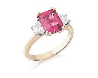 Emerald Rubelite Tourmaline & Diamond Three Stone Ring