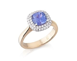 Cushion Tanzanite & Diamond Halo Ring