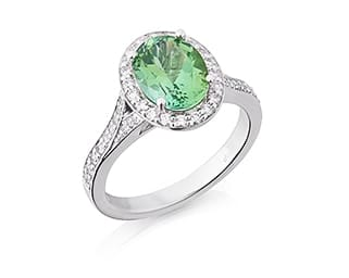 Oval Mint Green Tourmaline & Diamond Ring