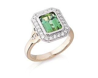 Emerald Mint Green Tourmaline & Diamond Ring