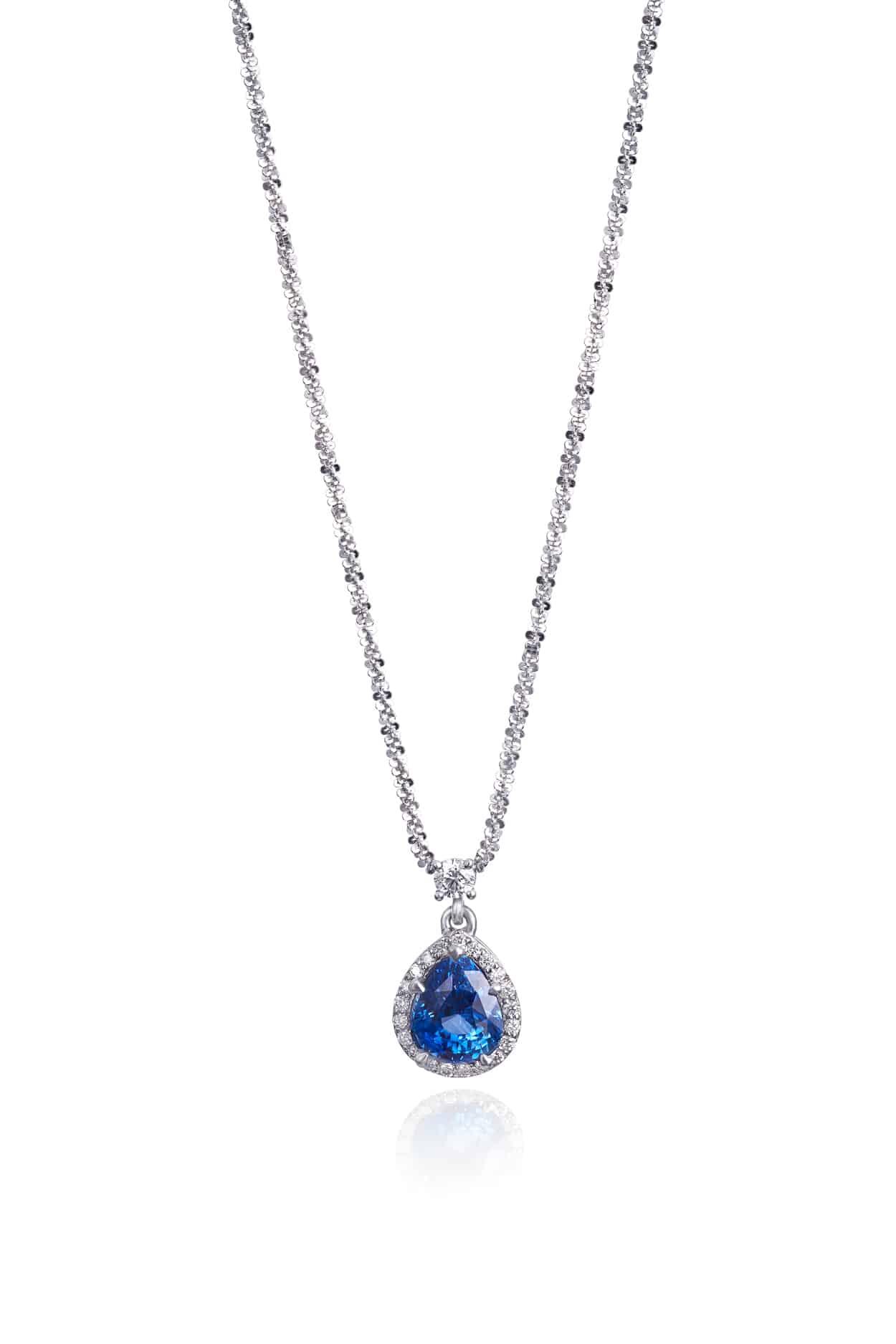 Pear Ceylon Sapphire & Diamond Halo Pendant