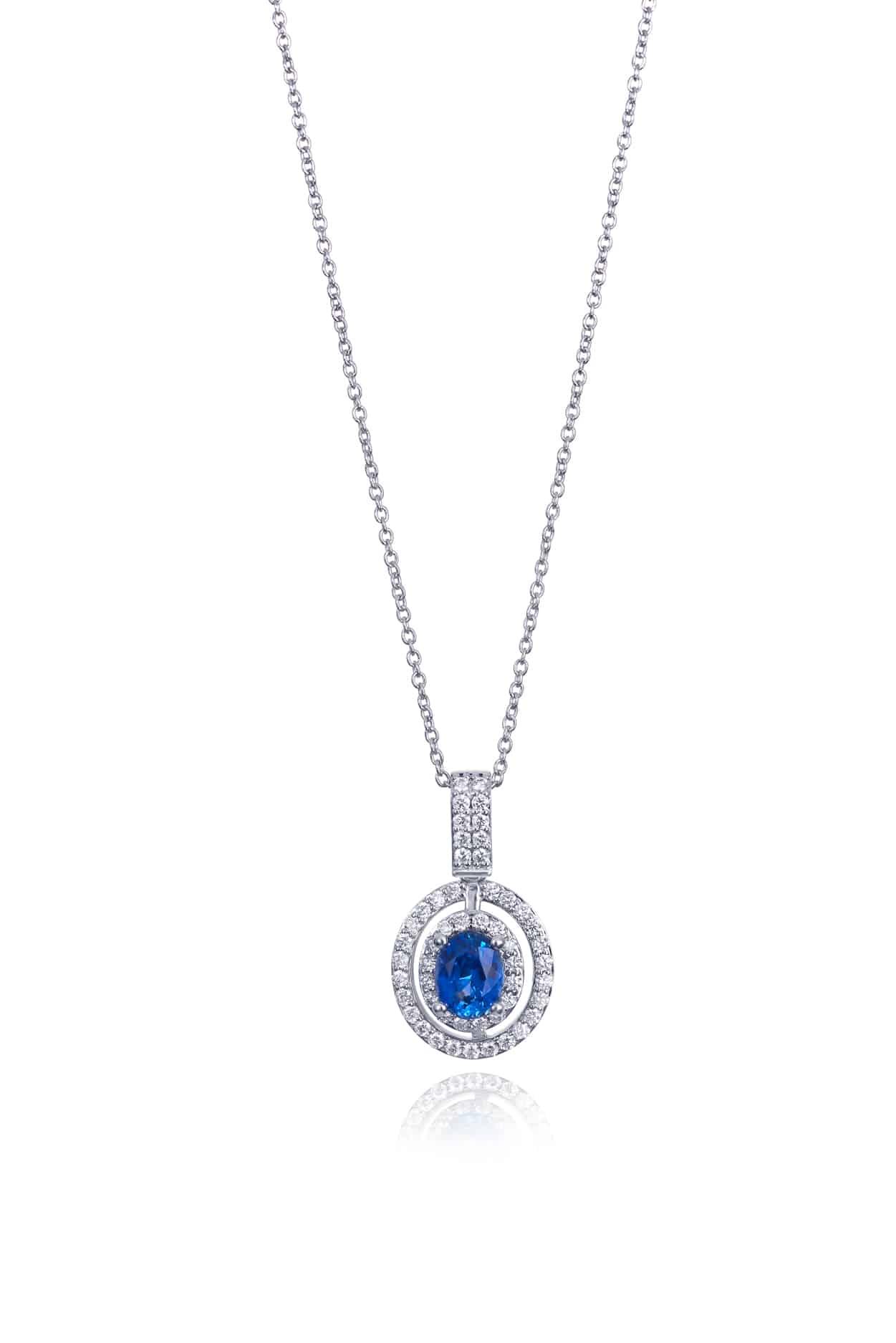 Oval Ceylon Blue Sapphire & Diamond Halo Pendant