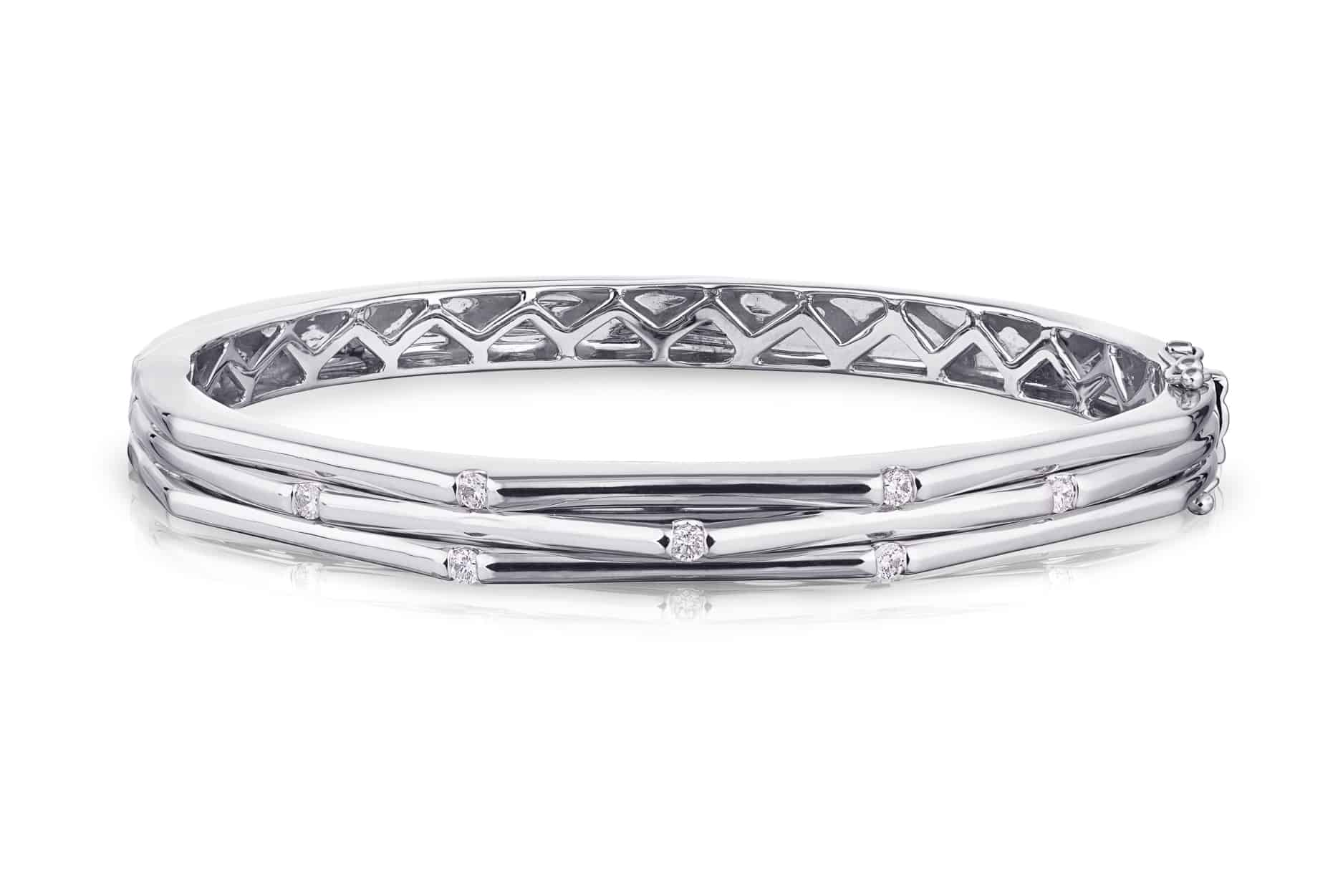 Diamond Three Row Bangle