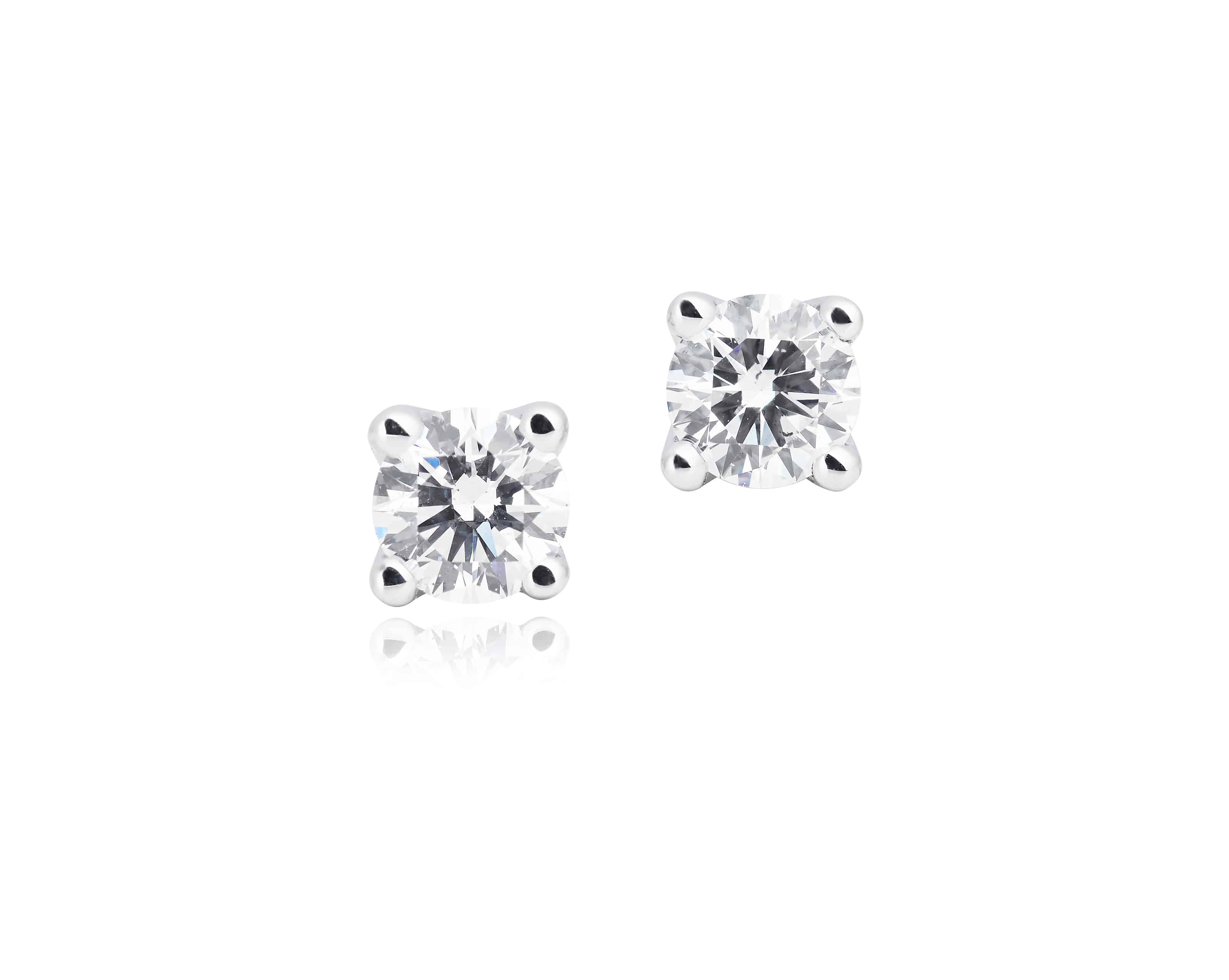 Diamond Four Claw Stud Earrings with Enhancer Halos