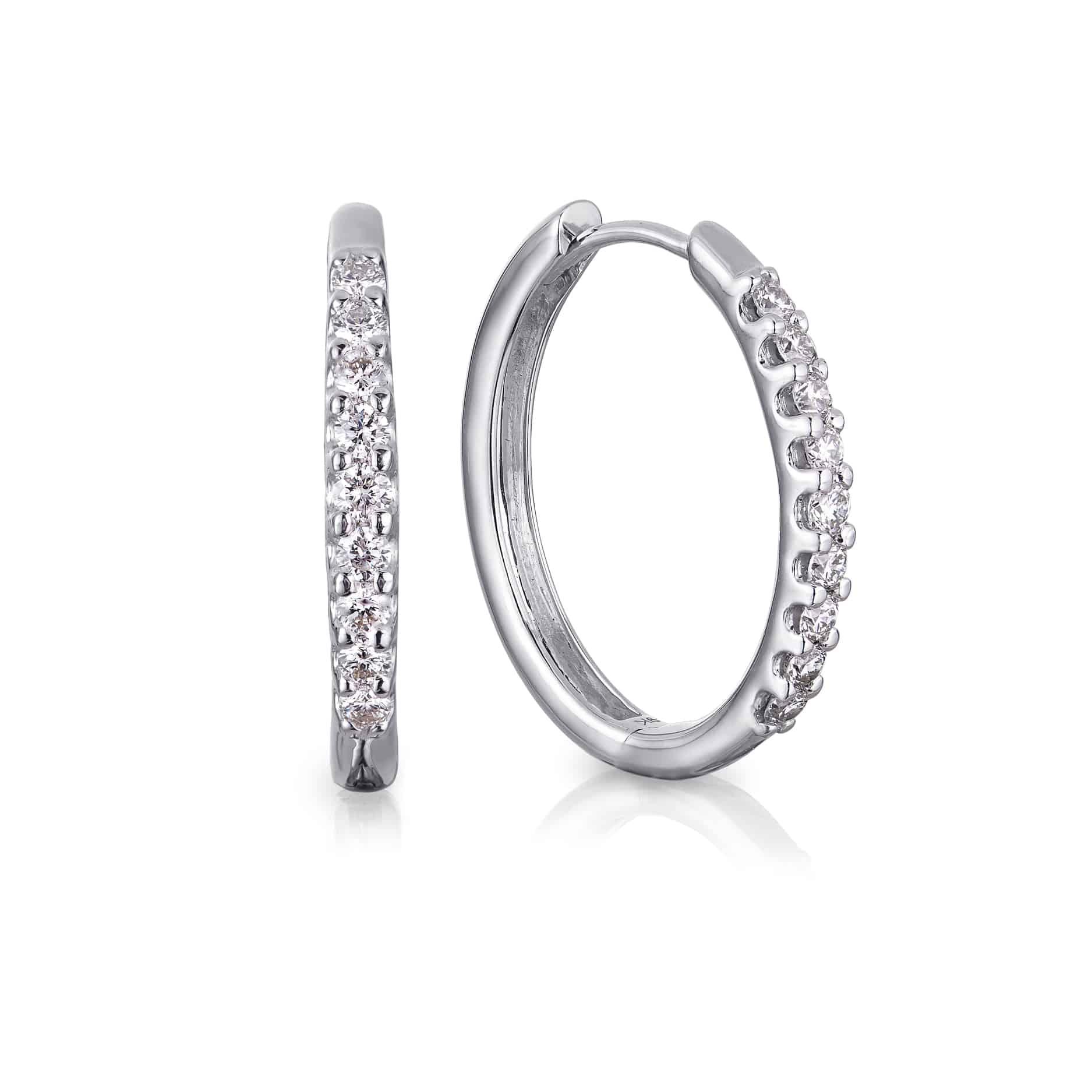 Diamond Cut Claw Hoop Earrings