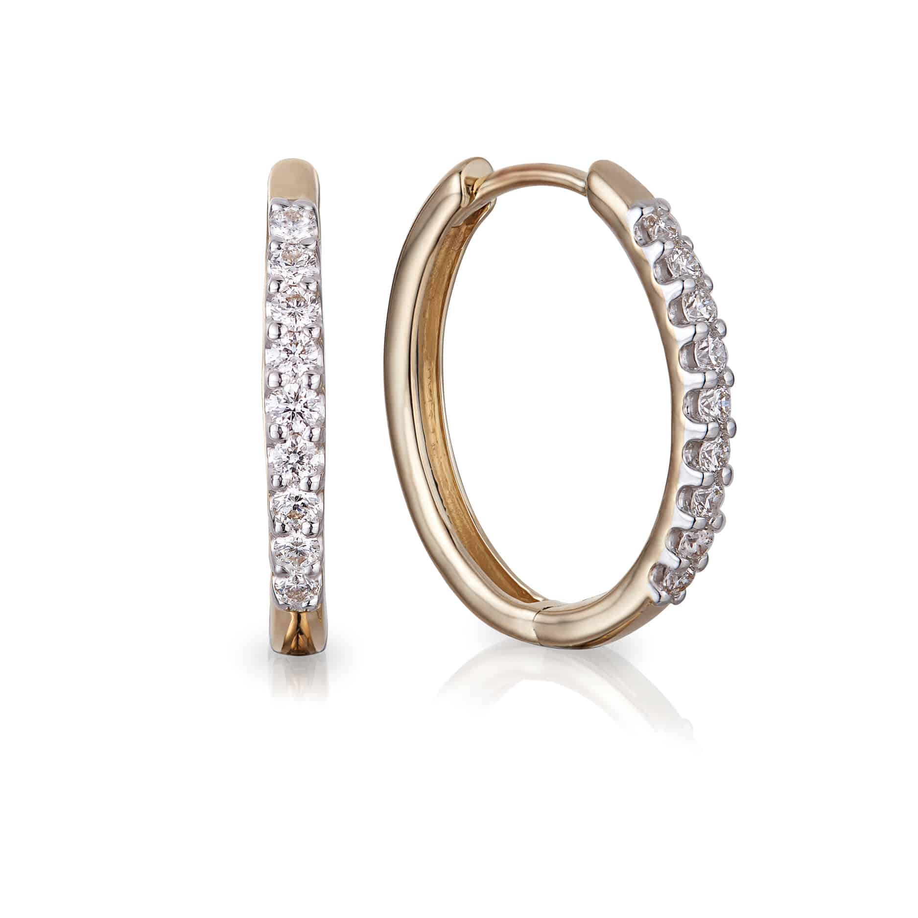 Diamond Cut Claw Hoop Earrings