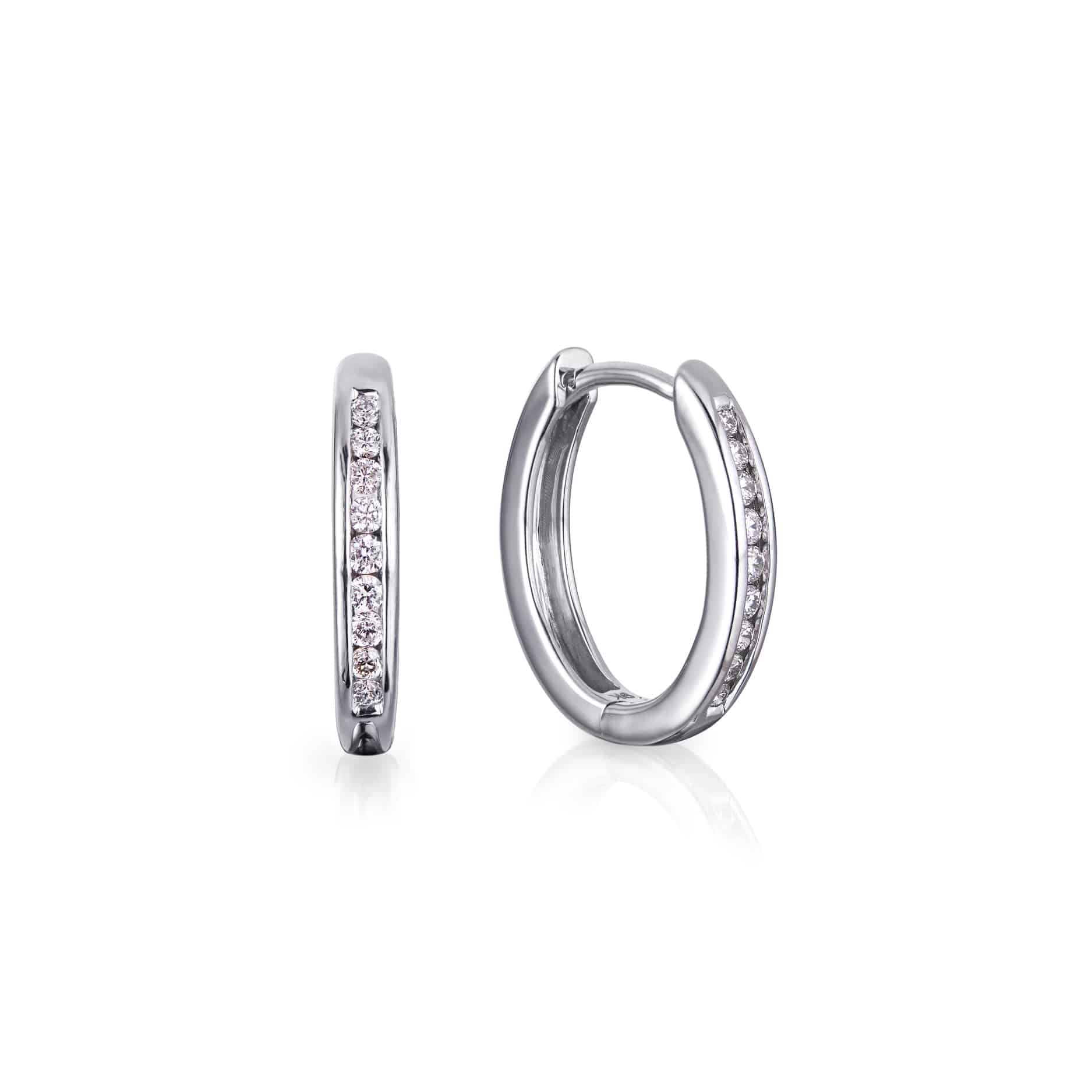 Diamond Channel Hoop Earrings