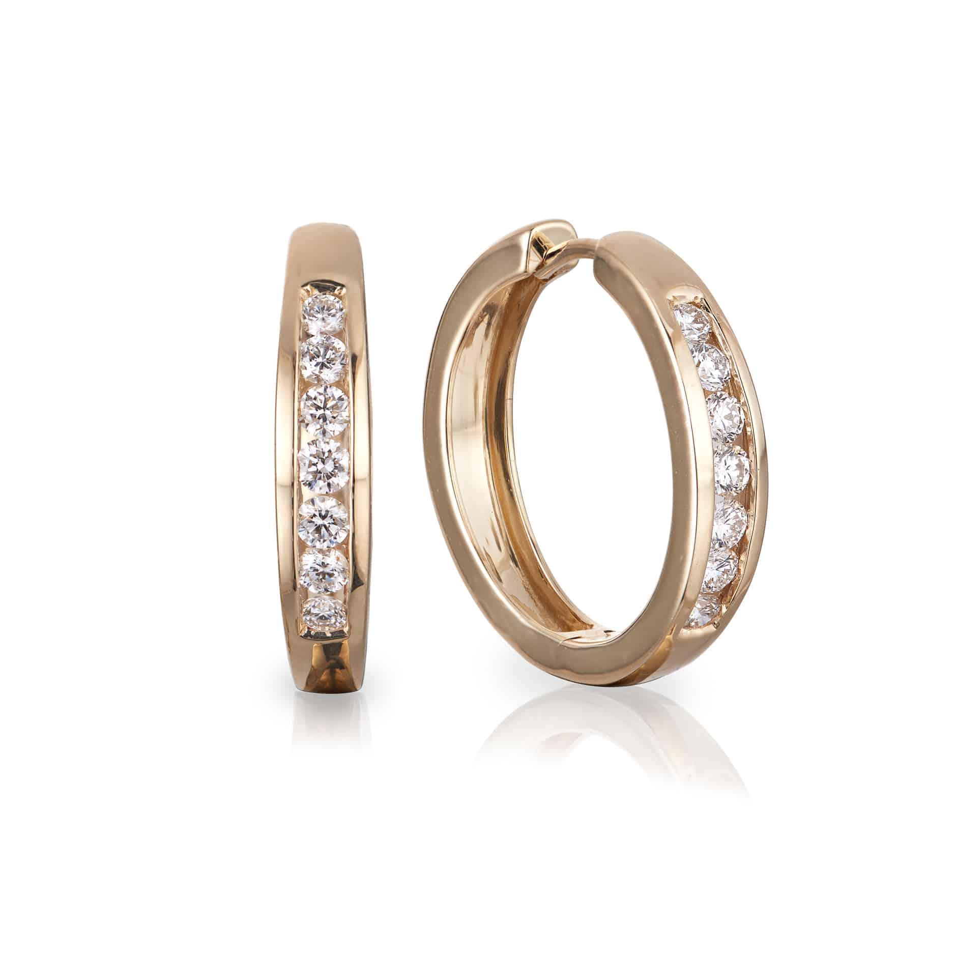 Diamond Channel Hoop Earrings