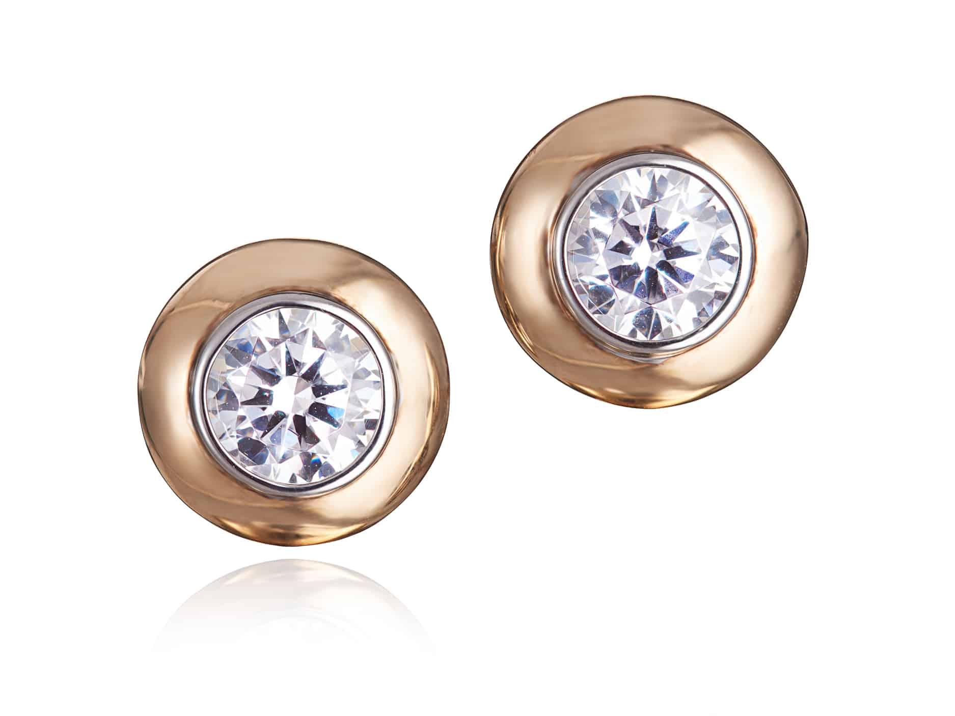 Double Bezel Diamond Stud Earrings