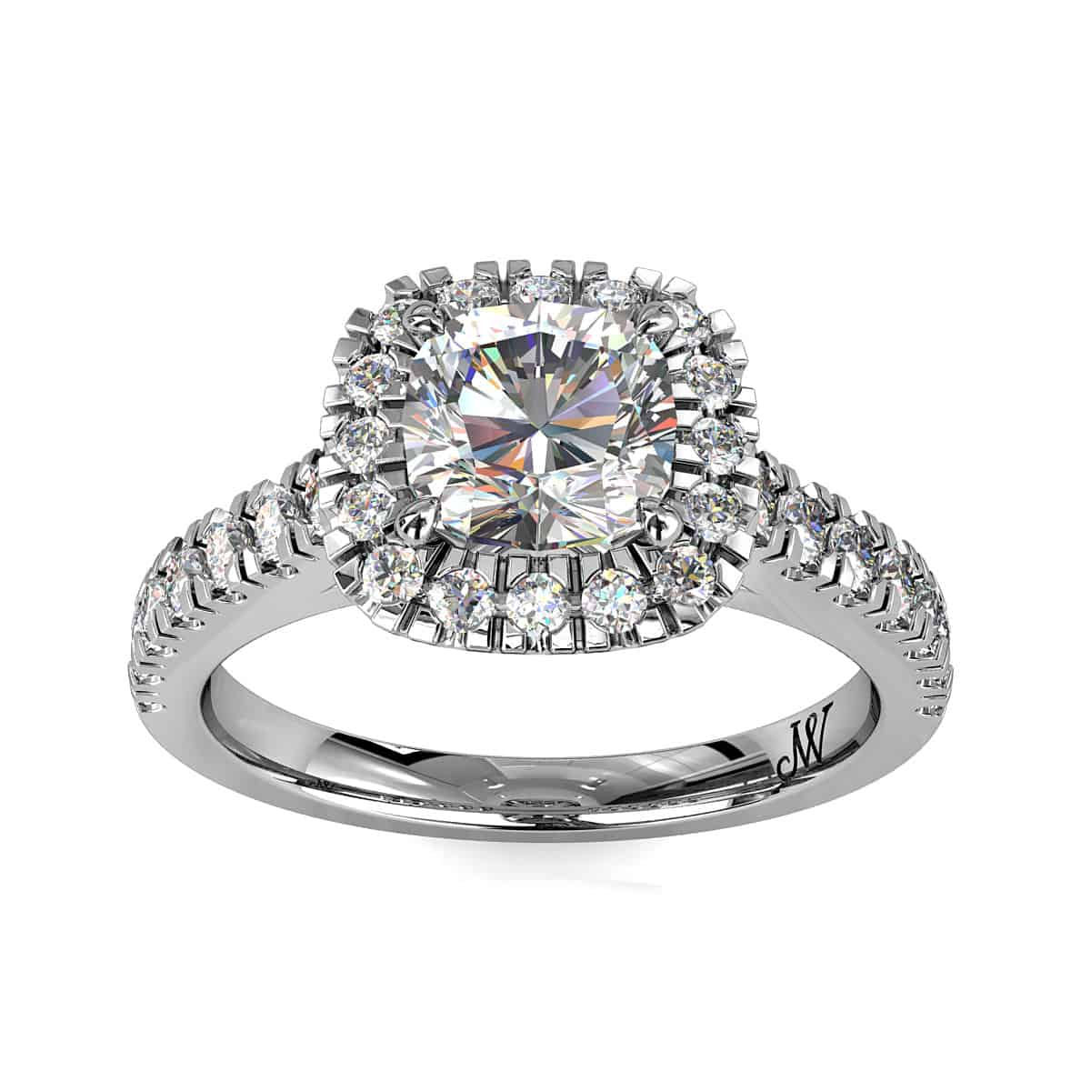 Cushion Cut Diamond Halo Engagement Ring