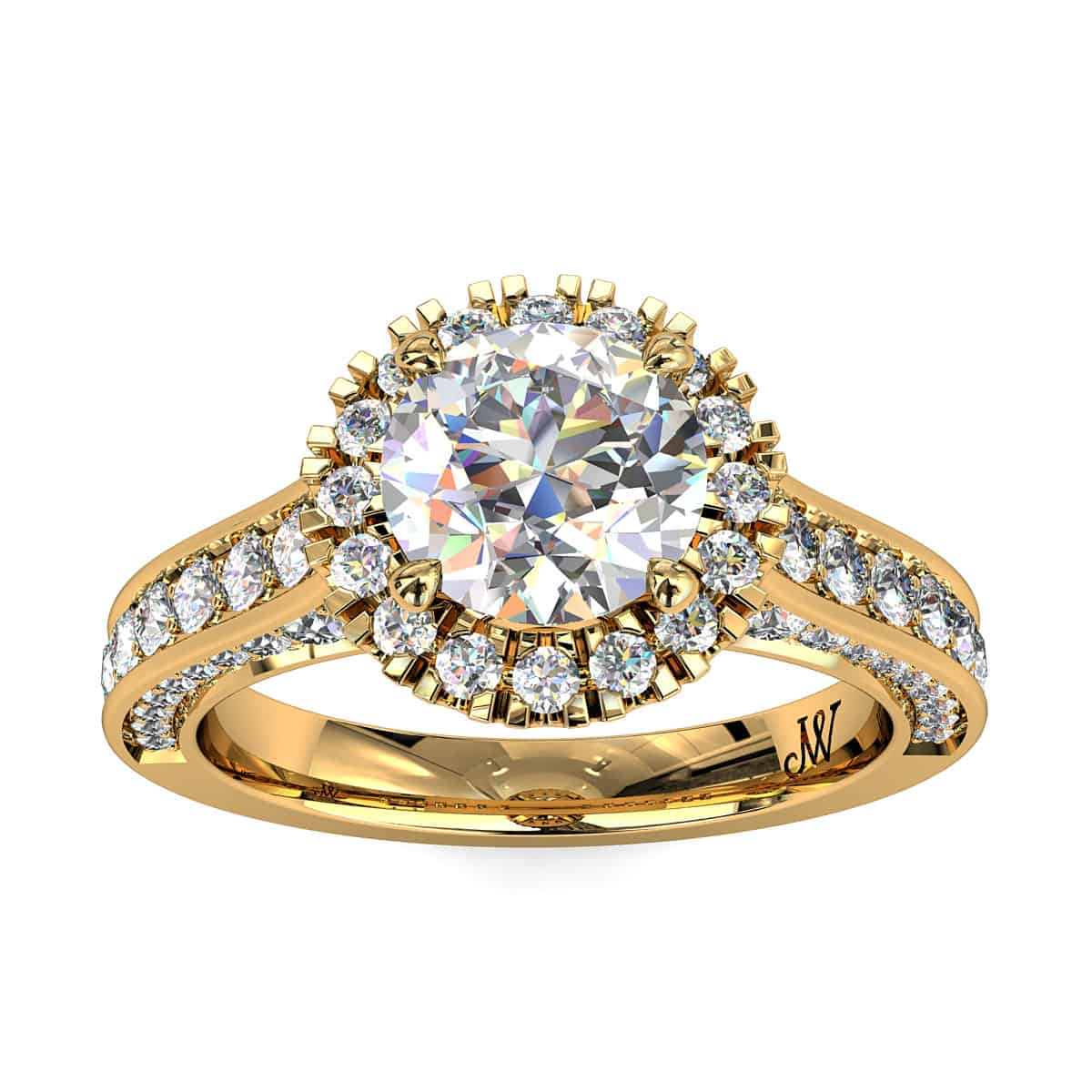 Round Brilliant Cut Diamond Halo Vintage Engagement Ring